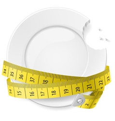 crossed spoon and fork plate Diet metr 05 vector image