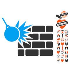 destruction icon with lovely bonus vector image