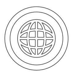 Earth globe diagram inside circle icon vector