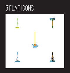flat icon broomstick set of broom besom vector image vector image