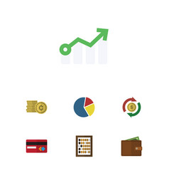 Flat icon finance set of growth interchange cash vector