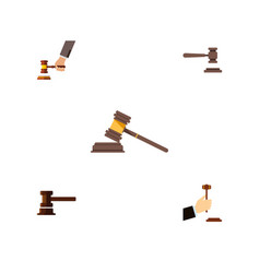 Flat icon hammer set of government building court vector