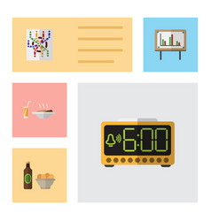 flat icon lifestyle set of beer with chips router vector image