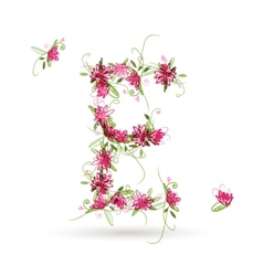 Floral letter E for your design vector image