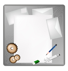 Gears and Wrench on A Blank Page and Envelope vector image vector image