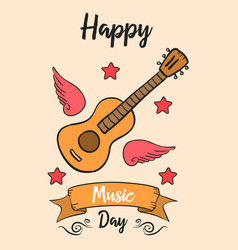 Happy music day card style art vector
