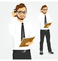 Hipster businessman talking on the phone vector