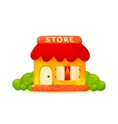 Little cute shop icon in cartoon style vector