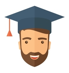 Male head with graduation cap vector