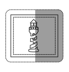 monochrome sticker frame with tower of lighthouse vector image