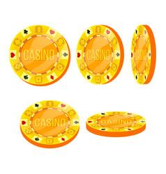 poker chips flat cartoon set casino sign vector image vector image