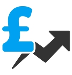 Pound Price Growth Flat Icon Symbol vector image vector image