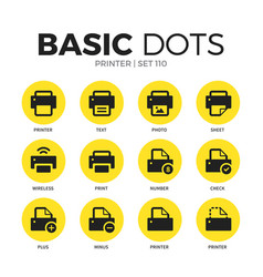 Printer flat icons set vector
