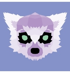 Purple low poly lemur vector