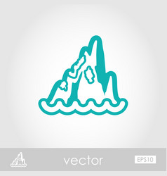 Rocks in the sea outline icon summer vacation vector