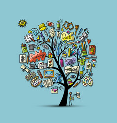 school of drawing art tree for your design vector image vector image