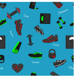 seamless pattern with sport and fitness elements vector image