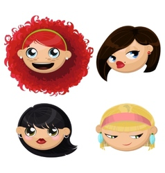 Set of 4 cartoon female heads vector image
