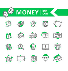 set of bank and money line icons coin vector image vector image