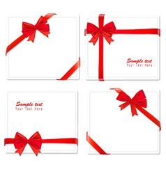 set of four red bows ribbons vector image