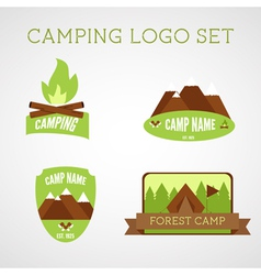 Set of outdoor adventure badges and campsite logo vector image vector image