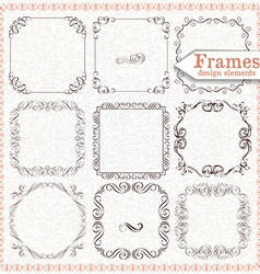 Set ornate vintage frames vector