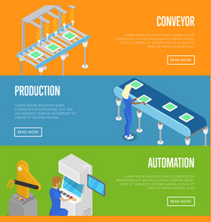 Smart robotic assembly line isometric 3d posters vector