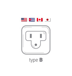 Sockets icon type b ac power sockets realistic vector