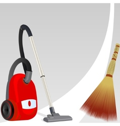 Vacuum cleaner and broom vector