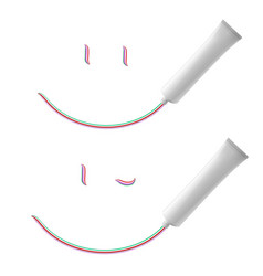 White smile of toothpaste on white background vector