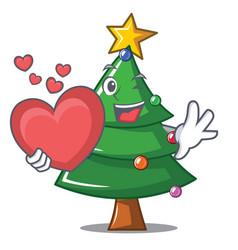 With heart christmas tree character cartoon vector