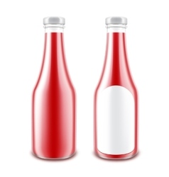 Set of red tomato ketchup bottle without label vector
