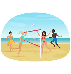People having fun playing volleyball on the beach vector