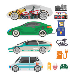 Electrocar or electric car passenger automobile vector