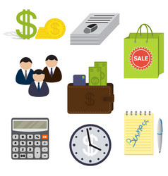 Set of eight business items isolated on a white vector