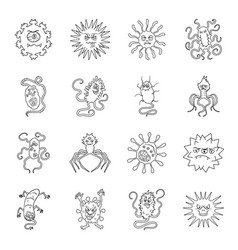 Viruses and bacteries set icons in line style big vector