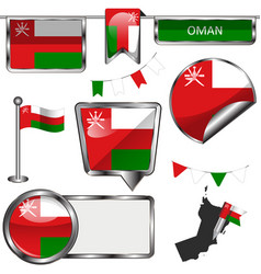 Glossy icons with flag of oman vector