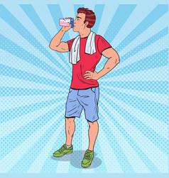 Pop art muscular man drinking protein shake vector