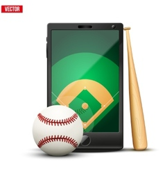 Smartphone with baseball ball and field on the vector