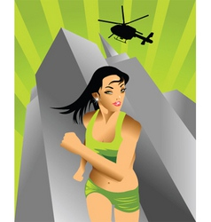 action girl vector image