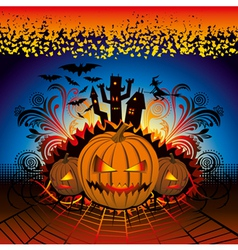 angry halloween pumpkin with bats and witch vector image