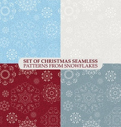 Set seamless vintage pattern from snowflakes vector