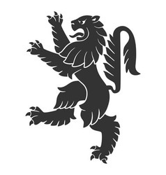 Black Attacking Lion vector image