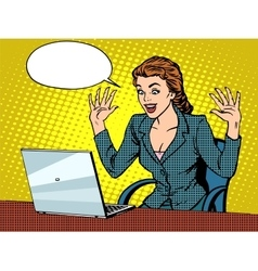 Happy business woman with laptop vector image
