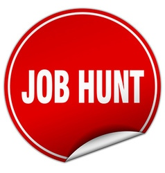 Job hunt round red sticker isolated on white vector