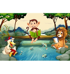 Wild animals reading books by the river vector