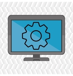 Laptop blue gear isolated icon design vector