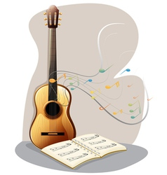 A guitar with a musical book vector image vector image