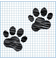 Animal tracks with pen effect on paper vector