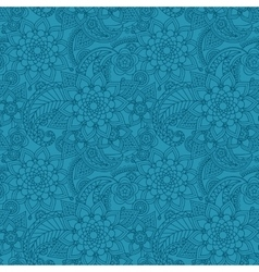 Blue arabic paisley pattern with flowers vector image vector image